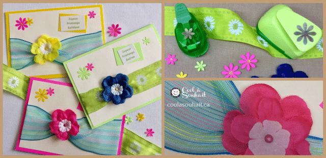 Cartes de Printemps avec fleurs en tissu et ruban