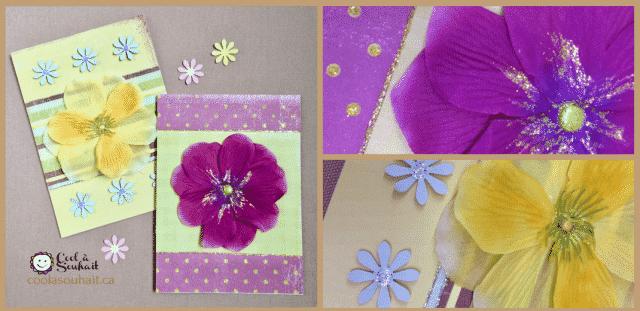 Cartes de Printemps avec une grosse fleur en tissu.
