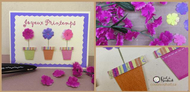 Cartes de Printemps avec trois petits pots de fleurs.