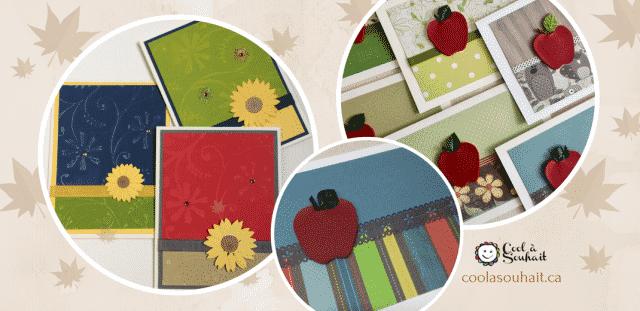 Cartes d'automne avec pomme et tournesol