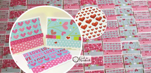 Cartes de St-Valentin avec beaux papiers à motifs