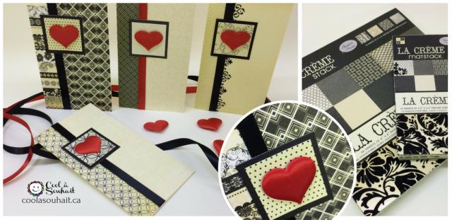 Cartes de St-Valentin avec petits coeurs en satin rouge