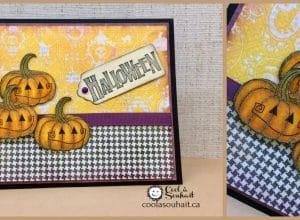 Carte d'Halloween avec trois citrouilles comme embellissements.