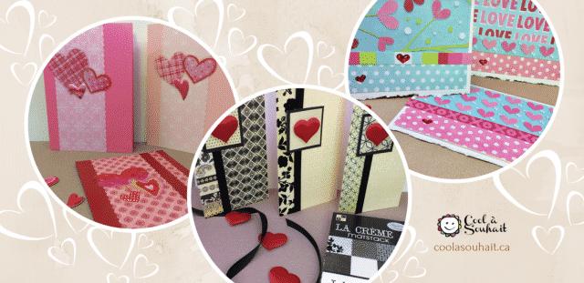 Cartes de St-Valentin avec petits coeurs auto-collants