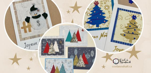 Cartes de Noël avec sapins et bonhomme de neige.