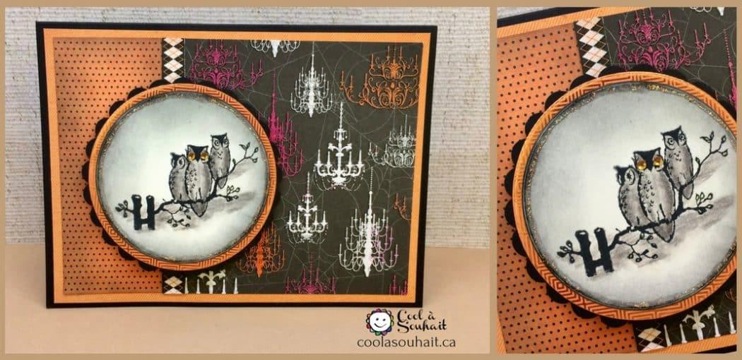 un embellissement avec une étampes d'hiboux pour une carte d'Halloween