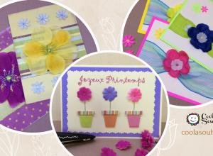 Cartes facile à fabriquer avec des fleurs en tissus.