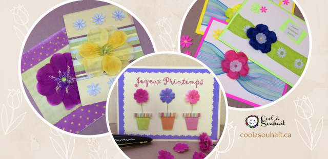 Cartes de Printemps avec fleurs en tissu