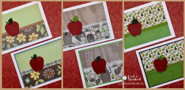 Cartes d'automne faites à la main avec papier à motifs et pomme