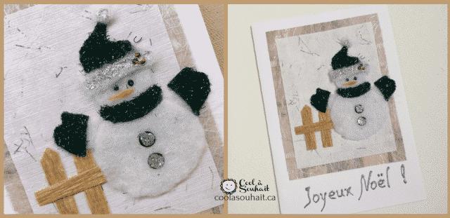 Cartes de Noël avec Bonhomme de neige facile à fabriquer