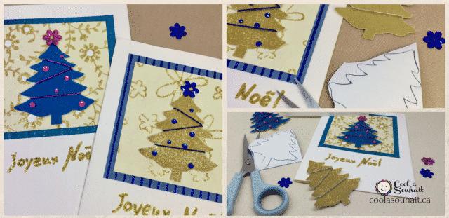 Cartes de Noël faciles à fabriquer avec petits sapins.