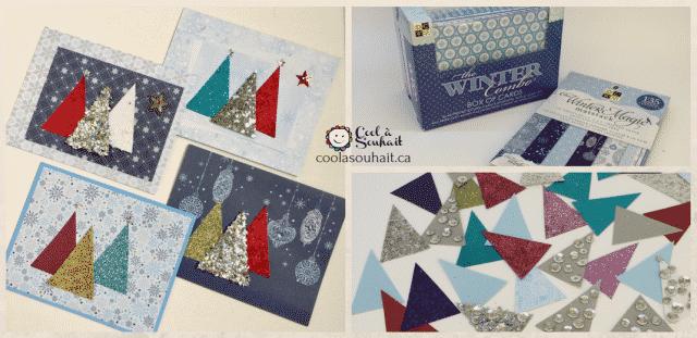Cartes de Noël faciles à fabriquer avec de beaux sapins découpés en triangle.