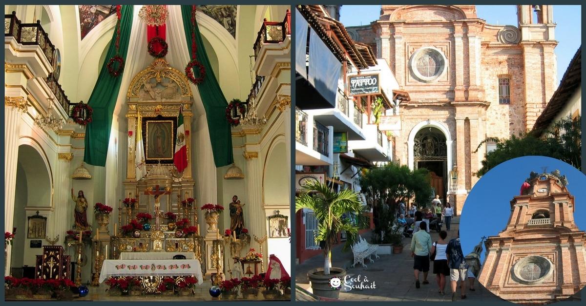 Église baroque de Puerto Vallarta décoré avec des Poinsettias pour Noël