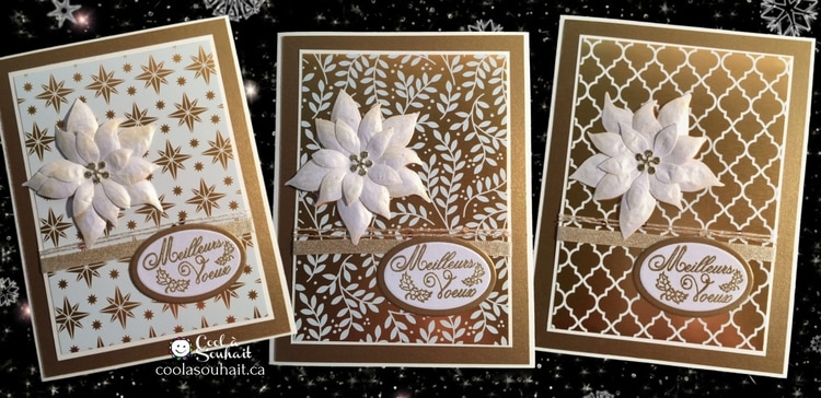 3 cartes dorées fait à la main avec Poinsettia