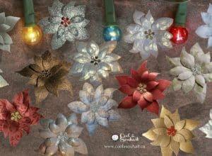 Poinsettias en papier cartonné pour embellissements de cartes de voeux ou scrapbooking