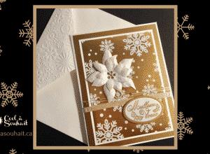 Carte de Noël faite à la main avec poinsettia.