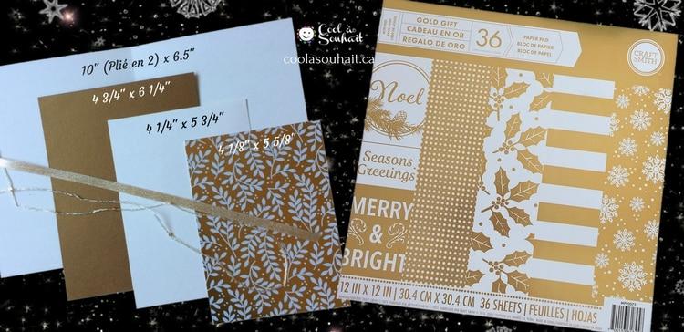mesures pour la carte de Noël dorée et papier cartonné Craft Smith