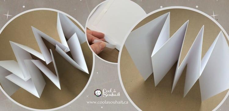 Tableau de visualisation étape 2. Emboiter les feuilles de papier cartonné puis les coller.