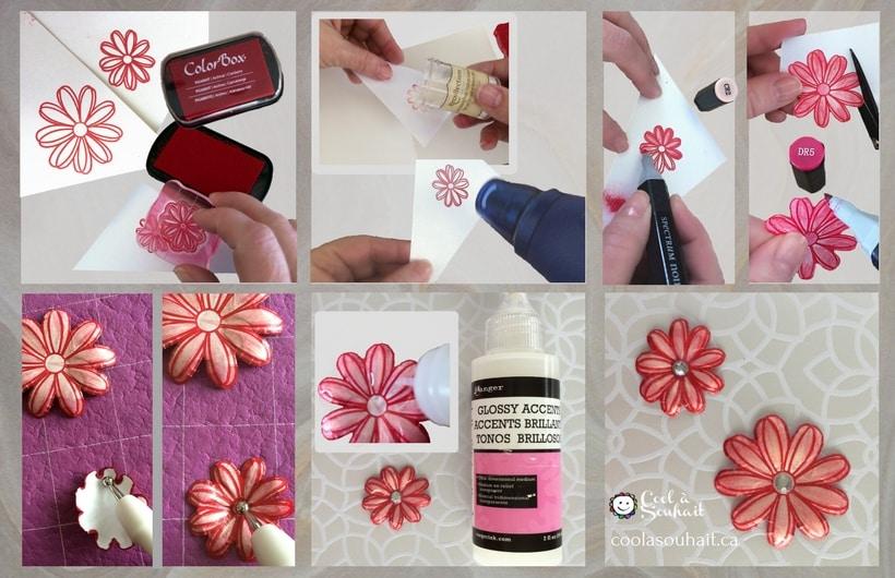 Fleurs en papier (étampées, coloriées et découpées)