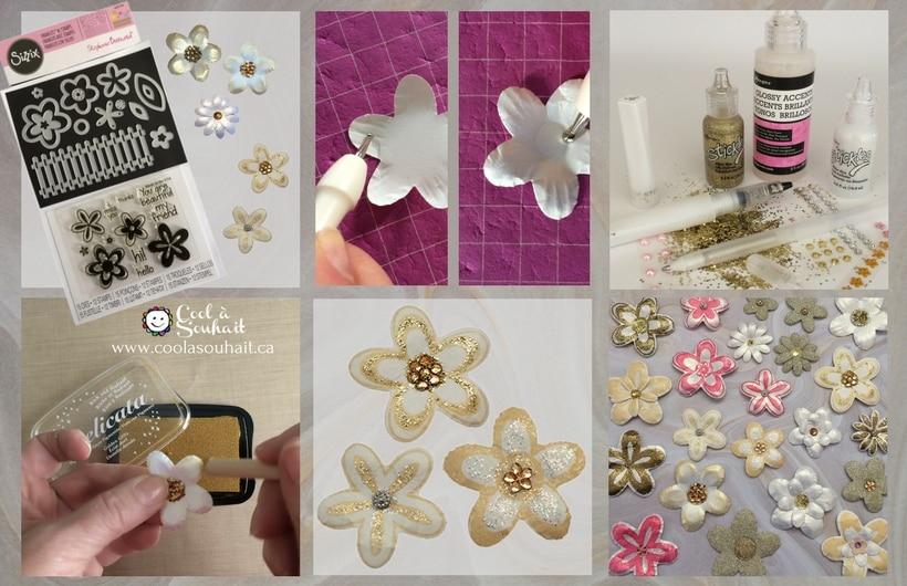 """Fleurs en papier fabriquées avec les étampes et poinçons """"Stephanie Barnard"""" de la compagnie Sizzix."""