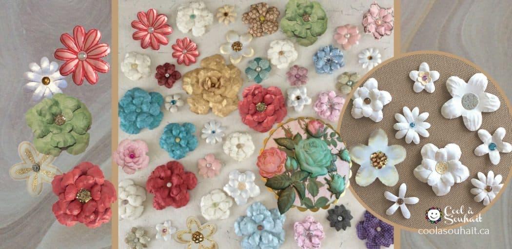 Différents modèles de fleurs en papier pour embellir des cartes de voeux ou page de scrapbooking.