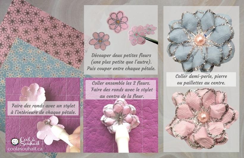 Petites fleurs de papier faciles à fabriquer avec du papier cartonné à motifs.