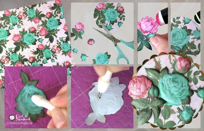 Fleurs en papier utilisées comme embellissement pour carte de voeux ou projet de scrapbooking