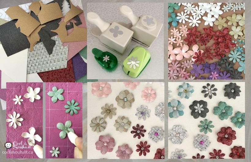 Embellissements de fleurs en papier cartonné réalisées avec des perforatrices.