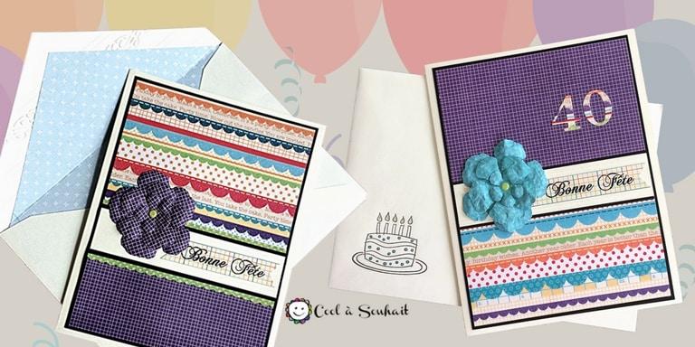 Cartes d'anniversaire avec enveloppes assorties.