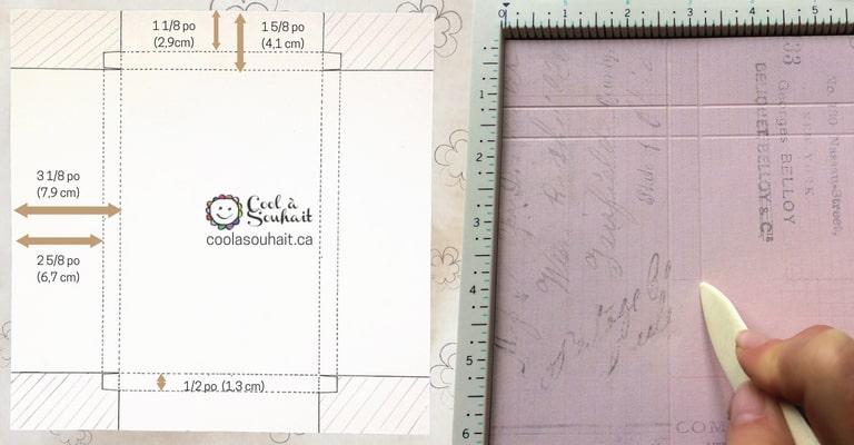 Gabarit (template) pour la fabrication de mon enveloppe boîte.