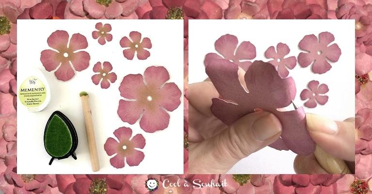 Encrer le centre des fleurs en donner de la dimension aux pétales.