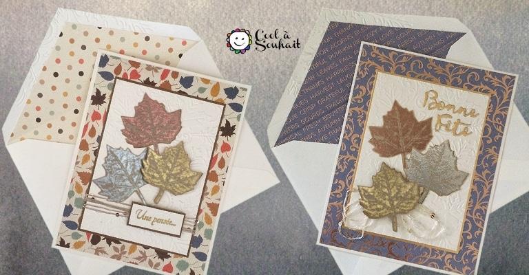 Cartes d'automne avec embellissements de feuilles d'érable