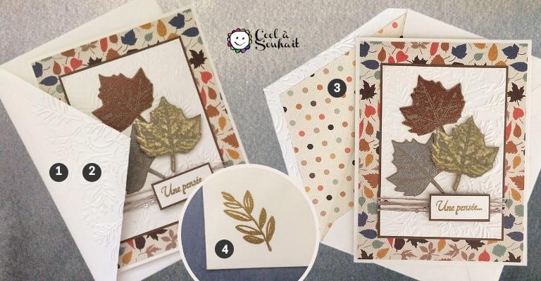 Enveloppes doublées et embossées pour mes cartes d'automne.