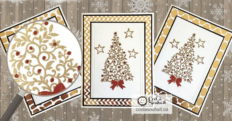 Cartes de Noël avec sapin doré faites à la main.