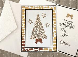 Cartes de Noël fait main. Sapin doré à l'embossage à chaud.