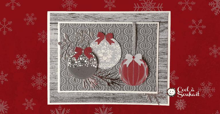 Cartes de souhaits avec boules de Noël.