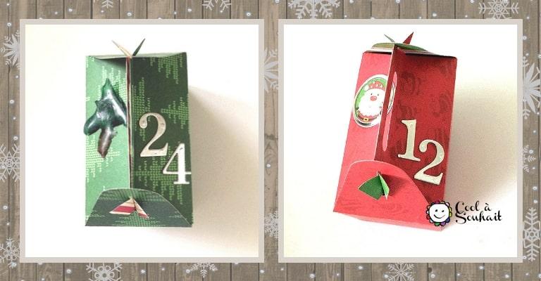 Décorer les boîtes cadeaux avec des autocollants et des chiffres.