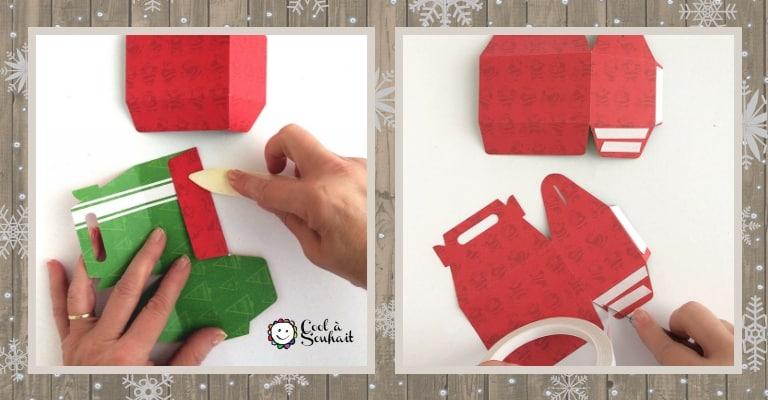 Plier les boîtes et les coller avec de l'adhésif à double face.