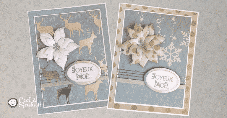 Cartes de Noël avec Poinsettia.