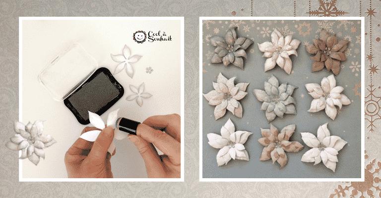Encrer les bractées de Poinsettia en papier cartonné.