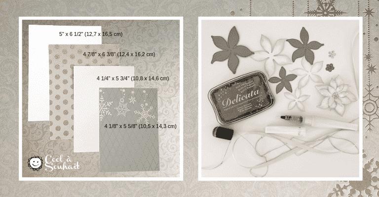 Mesures et produits utilisés pour fabriquer les cartes de Noël avec Poinsettia.