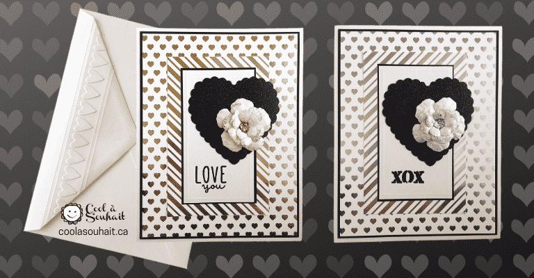Cartes de St-Valentin avec fleur or ou argent.