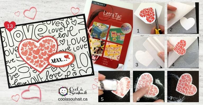 Carte pour la St-Valentin avec paillettes.