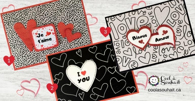 Cartes de voeux pour la St-Valentin. Fait main!