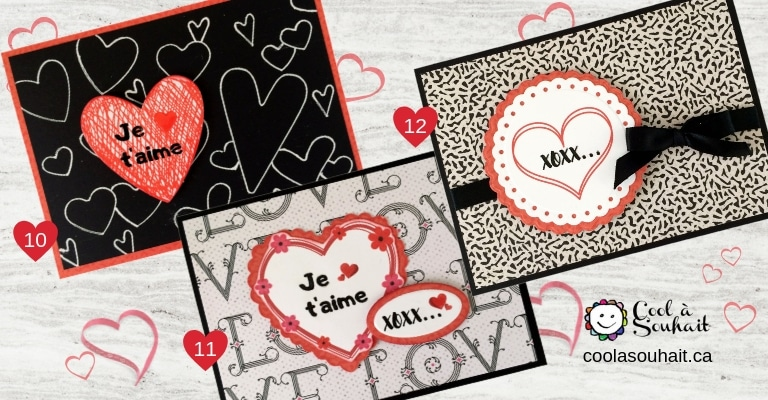 Cartes de St-Valentin avec coeurs et petits mots d'amour.