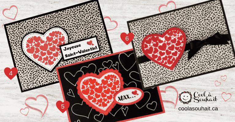 Cartes de voeux pour la St-Valentin avec coeurs rouges.