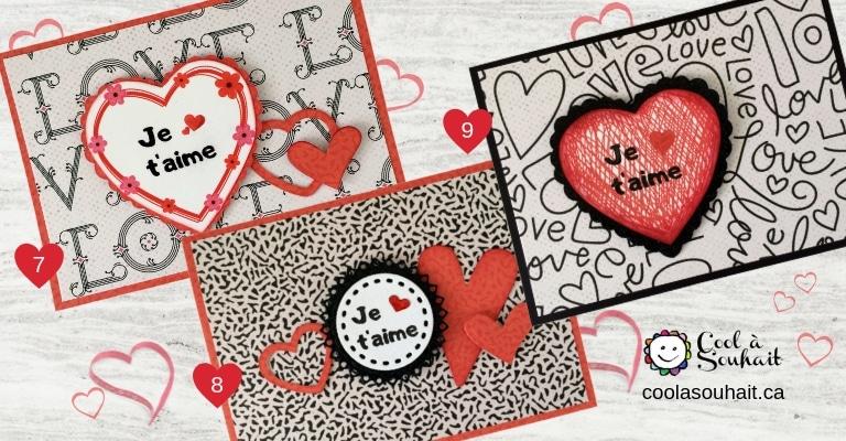 Cartes avec mots d'amour et coeurs pour la St-Valentin.