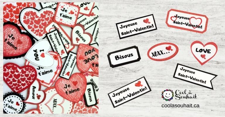Coeurs et mots d'amour pour ajouter sur les cartes de la Saint-Valentin.