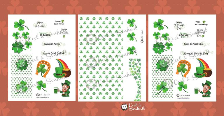 Embellissements à imprimer pour les cartes de voeux pour la Saint-Patrick.