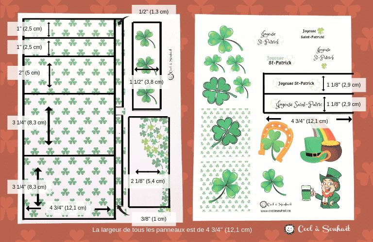 Mesures pour réaliser six cartes de voeux pour la Saint-Patrick.